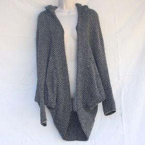 Free People Grey Black Oversize Hoodie Sweater
